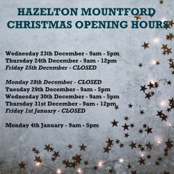We hope you won't need them, although please note our claims contact details here and festive opening hours. Merry Christmas from all of the team at Hazelton Mountford. Take care and stay safe.